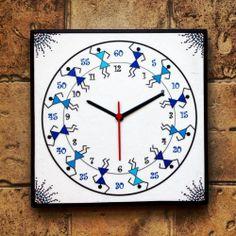 Blue Handmade Hand Painted Warli Wall Clock for Boys