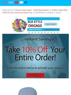 Get 10% Off Your Entire Purchase at Old Style Chicago Apparel! Sale Ends 11:59 pm EST on 3/3/15!