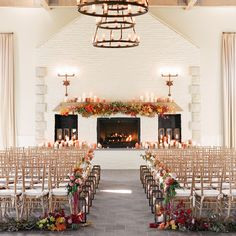 elegant fall wedding aisle with candle lights Wedding Aisles, Indoor Wedding Ceremonies, Indoor Ceremony, Garland Wedding, Wedding Ceremony Decorations, Wedding Ideas, Wedding Blog, Wedding Photos, Wedding Inspiration