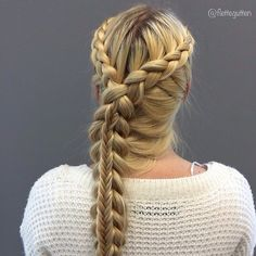 Dutch lace and staćked fishtail braid