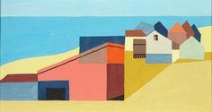 """Kenneth Stubbs   House on Beach (CM545), 1962  casein on cardboard, 4.5 x 6"""""""