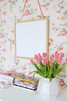 I am really thinking about putting this wallpaper behind the glass doored cabinets in the kitchen. SO CUTE!   Cath Kidston wall paper <3  yvestown.com