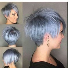 Silver blue pixie on @emilyandersonstyling