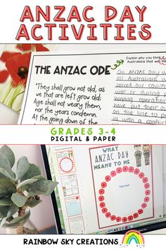 Paper and digital ANZAC Day activity resources. Can be used as a sequenced series of lessons or as individual tasks. Created to teach students about the importance of ANZAC Day. Primary Classroom, Google Classroom, Classroom Ideas, Learning Resources, Teaching Ideas, Google Platform, Rainbow Sky, Anzac Day, Australian Curriculum