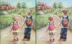 Brother and sister TAKE MY HAND LITTLE SIS fine art archival print, Personalized version -Change hair color and add Names to backpack!