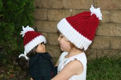 Hand Knit Santa hat and matching American Girl Doll hat For sale www.3scrafty.com