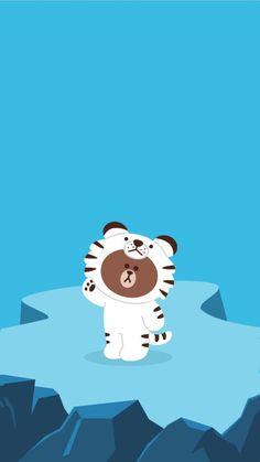 Lines Wallpaper, Brown Wallpaper, Bear Wallpaper, Wallpaper Backgrounds, Phone Wallpapers, Kakao Friends, Friends Wallpaper, Cartoon Background, Wallpaper Iphone Disney