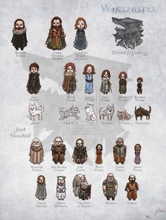 Game of Thrones: House Stark Game Of Thrones Bar, Game Of Thrones Cartoon, Game Of Thrones Houses, Game Of Thrones Characters, Game Of Throne Poster, Stark Family, My Champion, Iron Throne, Winter Is Here