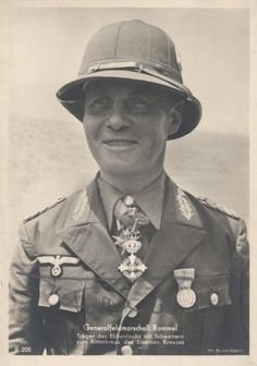 Gen (later field marshal) Erwin Rommel wearing pith helmet and tropical uniform shortly after he arrived in Africa. The medal hanging from the neck is the Military Order of Savoy, an Italian medal. The pith helmet was original issue for the Africa Corps but was eventually replaced by a regular cloth cap. Rommel himself wore his regular Wehrmacht cap throughout his deployment in the desert.