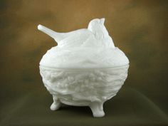 Vintage Greentown Milk Glass Robin on Oval Nest ~ Two Piece Covered Dish in | eBay