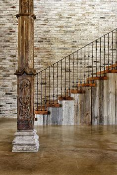 Rustic Staircase, Hill Country Modern in Austin, Texas.