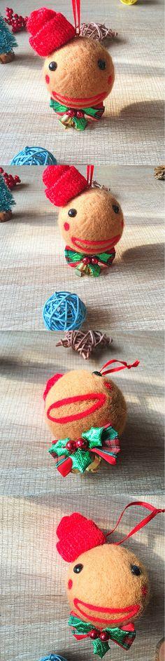 Handmade needle felting felted project christmas Gingerbread bauble ball tree ornamant christmas decor decoration