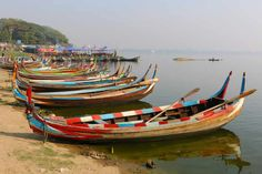 Boats at the Belmond dock, Bagan.