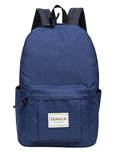 Zeraca Waterproof Canvas Travel Laptop Backpacks Bookbag for College School Dark Blue *** Check out the image by visiting the link.
