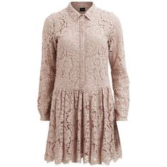 FEMININE, LACE DRESS - Vila ($71) ❤ liked on Polyvore featuring dresses, lace cocktail dress, lacy dress, brown dress, vila and lace dress