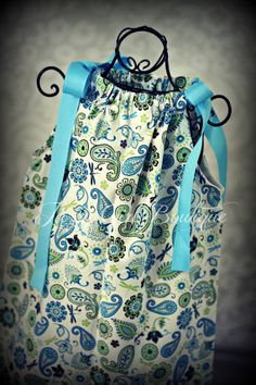 Girls Boutique Pillowcase Dress Dragonfly Paisley with Blue Ribbon Bows that tie at the Shoulders