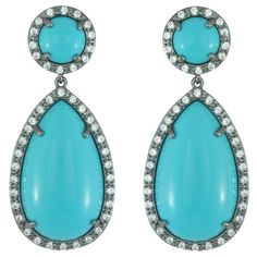 Kenneth Jay Lane CZ Turquoise Drop Earrings ($188) ❤ liked on Polyvore featuring jewelry, earrings, orecchini, green turquoise earrings, post back earring, cz jewellery, kenneth jay lane jewelry and blue turquoise earrings