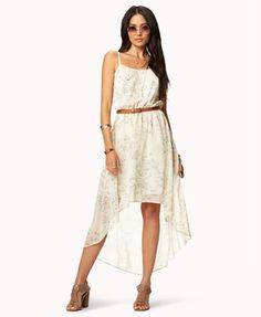 Forever21      Abstract Safari High-Low Dress  - Cream/Sea Green  $29.80  Great for Spring/Summer