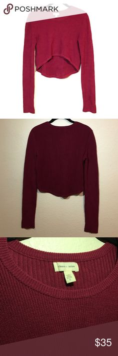 Silence + Noise red cropped sweater High low red knit cropped sweater from Urban Outfitters! Ribbed material. Fitted. Worn twice. No damage. Urban Outfitters Sweaters