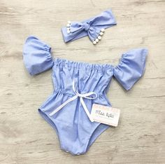 Baby romper Vacation girl outfit blue Toddler summer girl clothes Off the shoulder Summer girl outfits resort luxury girl clothes Cute Baby Girl Outfits, Girls Summer Outfits, Summer Girls, Toddler Outfits, Newborn Girl Outfits, Summer Baby, Baby Girl Fashion, Kids Fashion, Fashion Clothes