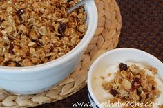 Best Granola - 6 cups rolled oats - wheat germ - 2 cups ribbon coconut - sesame seeds - nuts - walnuts - pecans - almonds - whatever - sunflower seeds - canola oil - vanilla - honey - optional additions - any dried fruit - raisins - dark chocolate chips - cinnamon - nutmeg - almond extract - flaxseed