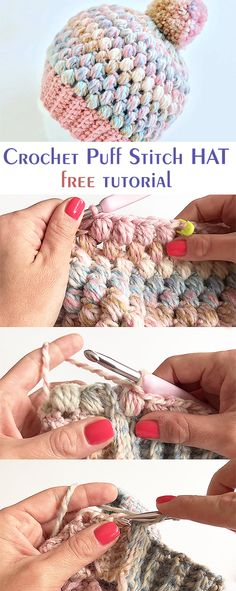 Häkeln Sie Puff Stitch Hat / Beanie - Tejer/Crochet - Leads For Amigurumi Easy Knitting Projects, Beginner Crochet Projects, Crochet Patterns For Beginners, Knitting For Beginners, Knitting Patterns, Crochet Ideas, Sewing Projects, Crochet Tutorials, Knitting Stitches