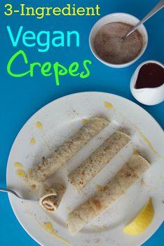 Simple 3-ingredient vegan crepes with cinnamon sugar, syrup and lemon juice #vegan #dairy-free