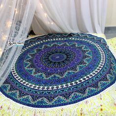Roundie Indian Mandala Round Beach Towel Picnic Sheets Indian Mandala Roundies, Beach Throw, Round Table cover, Wall Hanging, Bedspread,Yoga Rug and mat, Hippie Roundie, Mandala Rug  Gorgeous and beautiful beach blankets are a boho babe essential and favourite. Handmade from 100% Cotton with ethnic mandala design. Smultiple uses, they can be used for the beach, as a wall hanging or on a bed or anywhere you like. Round Table Covers, Cheap Room Decor, Indian Home Interior, Rugs And Mats, Bohemian Bedding, Indian Mandala, Mandala Tapestry, Beach Blanket, Yoga Mats