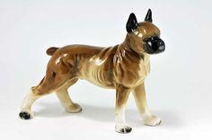 Large Vintage Ceramic Porcelain Boxer Dog Figurine by SharonTalson