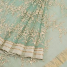 Buy online Hand Embroidered Blue Organza Saree With Floral Motifs 10011972