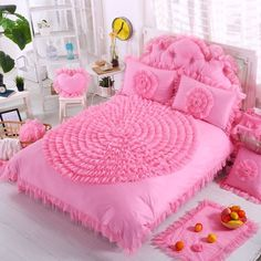 Hot Pink Waterfall Ruffle Design Rosette Pattern Feminine Feel Stylish Cotton Twin, Full, Queen Size Bedding Sets for Teen Girls Twin Bedroom Sets, Teen Girl Bedrooms, Bedroom Wall, Bedroom Wardrobe, Queen Size Bedding, Bedding Sets, Bedroom Decorating Tips, Tidy Room, Bed Sheet Sets