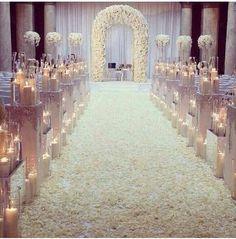 Wedding: church aisle full of white rose's petals