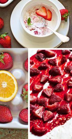 A healthy breakfast! Roasted Strawberry Yogurt Parfaits | FamilyFreshCooking.com