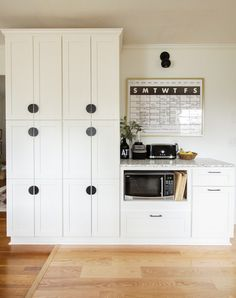 Organic Modern White Kitchen Remodel Reveal with Wood Open Shelving, Brass Sink, Gold & Black Accent Cabinets To Go, Kitchen Pantry Cabinets, Kitchen Shelves, Kitchen Renovation Cost, Kitchen Remodel, Modern Farmhouse Kitchens, Cool Kitchens, Kitchen Modern, Terrazzo