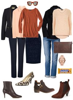 Navy with Peach and Brown