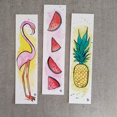 Watercolor bookmarks marque pages aquarelle Watercolor Bookmarks, Watercolor Cards, Watercolor Illustration, Watercolor Paintings, Simple Watercolor, Tattoo Watercolor, Watercolor Trees, Watercolor Animals, Watercolor Techniques