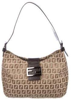 Fendi Leather-Trimmed Zucchino Baguette e4effbde4c93c