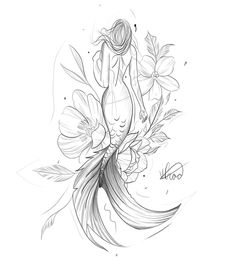 Learn more about tattoo styles and the work of Victor Prado - vipraado. Art Drawings Sketches Simple, Tattoo Sketches, Tattoo Drawings, Stencils Tatuagem, Tattoo Stencils, Mermaid Tattoo Designs, Mermaid Tattoos, Body Art Tattoos, Small Tattoos
