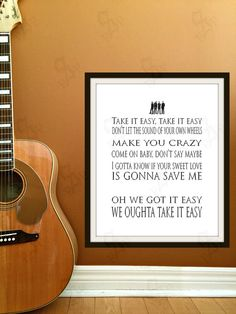 Take It Easy by The Eagles by PrintableSongParts on Etsy $4.13 USD