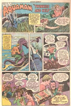 Hostess Snack Cakes Ad Aquaman in Twinkies and Kelp // Comic book advertising.
