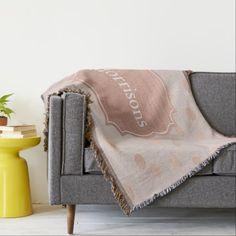 Elegant Rose Gold Polka Dots Monogram Throw Blanket