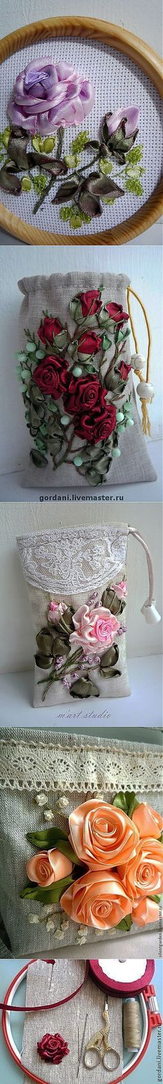 Los modelos y la clase maestra. Types Of Embroidery, Hand Embroidery Patterns, Embroidery Files, Embroidery Art, Cross Stitch Embroidery, Ribbon Art, Diy Ribbon, Ribbon Crafts, Ribbon Embroidery Tutorial