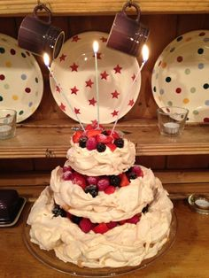 Three tier birthday pavlova.