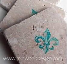 Teal blue fleur di lis stone tile coaster set of by midwooddesign
