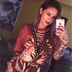T Shirt Women New Fashion Punk Rock Design Fashion Animal Print Halloween Lace Up Women Top Shirts Women Tops