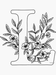 Coloring Letters, Alphabet Coloring Pages, Printable Coloring Pages, Easter Coloring Pages, Flower Coloring Pages, Embroidery Alphabet, Hand Embroidery Patterns, Drawing Letters, Floral Drawing