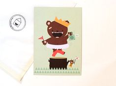 postcard happy bear  148 x 105 mm (A6 format normal postcard dimensions)  printed on 300gram FSC labeled paper
