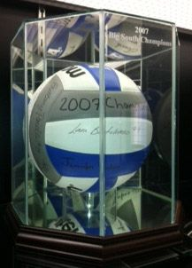 glass volleyball display case volley ball display holder engraved - Basketball Display Case