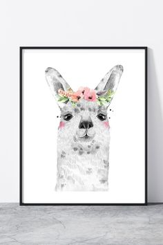 Llama nursery, llama print, llama wall art Llama Print, Nursery Prints, Moose Art, Wall Art, Animals, Fictional Characters, Animales, Animaux, Fantasy Characters