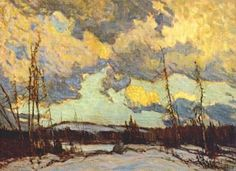"""MacDonald Canadian, Member of The Group of Seven 1883 - 1965 """"March Evening, Northland"""" Group Of Seven Paintings, Paintings I Love, Nature Paintings, Landscape Paintings, Tom Thomson Paintings, Impressionist Landscape, Virtual Art, National Art, Art Academy"""